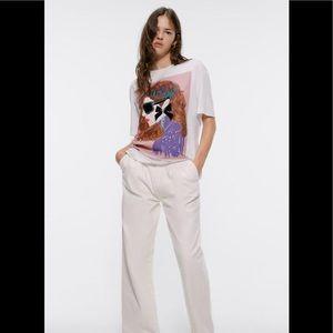 Zara Graphic Tee Of a Girl Velvet details Feminist